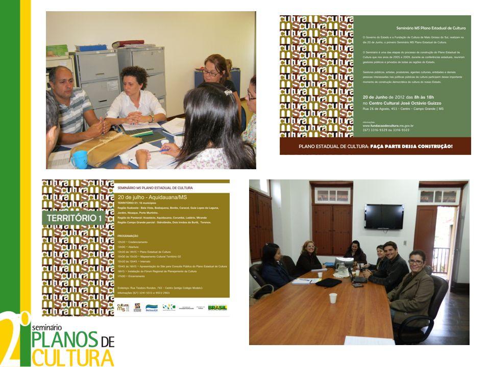1º Levantamento da Legislação Estadual: Etapa de diagnóstico Mato Grosso do Sul – 78 municípios DEPARTAMENTO CULTURAL90 % LEI DE INCENTIVO A CULTURA OU FUNDO MUNICIPAL DE CULTURA23,4 % CONSELHO MUNICIPAL DE CULTURA / FORUM MUNICIPAL DE CULTURA20,8 % MUSEUS9,36 % BIBLIOTECAS100 % CENTRO CULTURAL8,5 % PONTOS DE CULTURA POR MEIO CONVÊNIO DE SOCIEDADE CIVIL / MINC / FCMS8,5 % MUNICÍPIO COM ASSINATURA DO TERMO DE ADESÃO PARA A IMPLANTAÇÃO DO SISTEMA MUNICIPAL DE CULTURA.