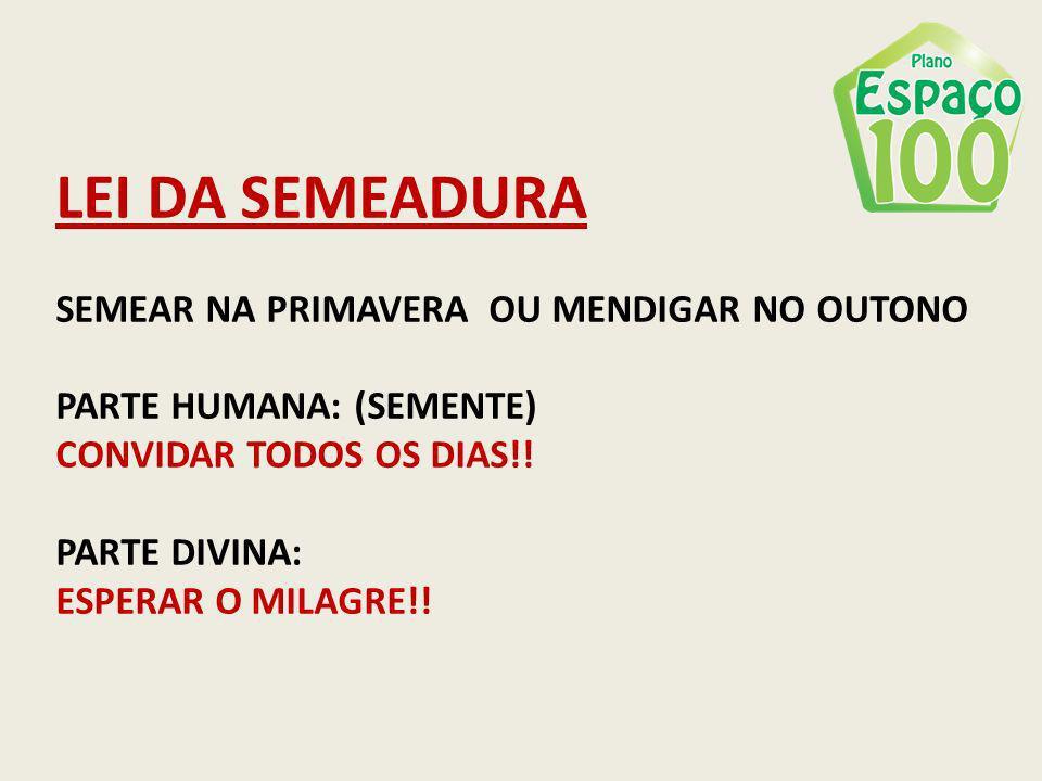 LEI DA SEMEADURA SEMEAR NA PRIMAVERA OU MENDIGAR NO OUTONO PARTE HUMANA: (SEMENTE) CONVIDAR TODOS OS DIAS!! PARTE DIVINA: ESPERAR O MILAGRE!!