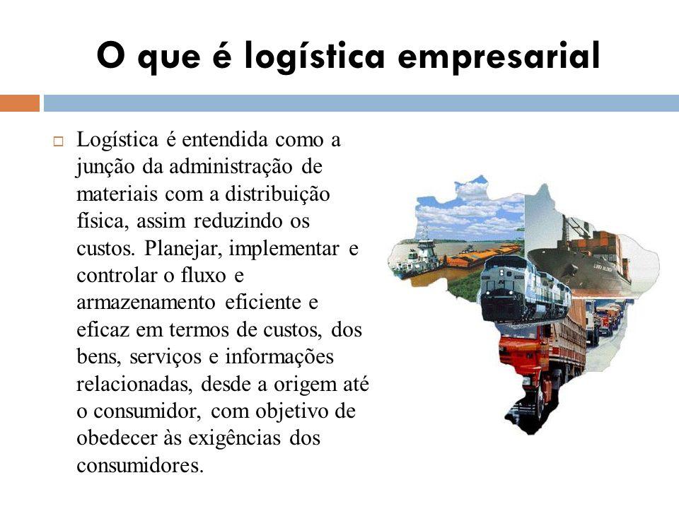 O que é logística empresarial Logística é entendida como a junção da administração de materiais com a distribuição física, assim reduzindo os custos.