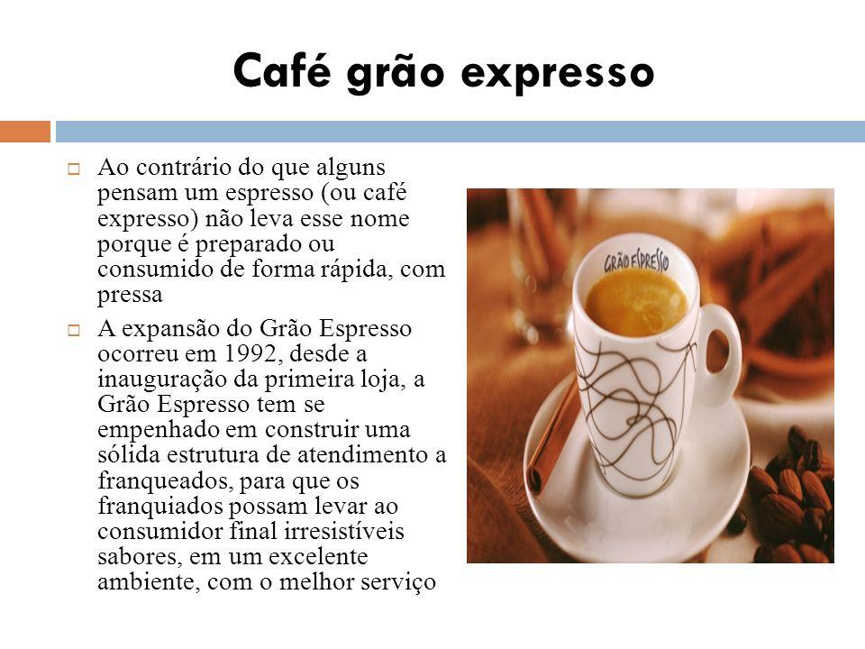 Café grão expresso Ao contrário do que alguns pensam um espresso (ou café expresso) não leva esse nome porque é preparado ou consumido de forma rápida
