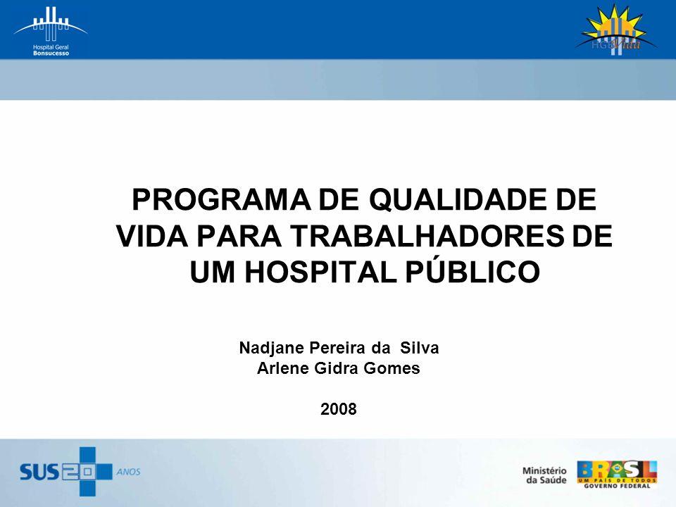 PROGRAMA DE QUALIDADE DE VIDA PARA TRABALHADORES DE UM HOSPITAL PÚBLICO Nadjane Pereira da Silva Arlene Gidra Gomes 2008
