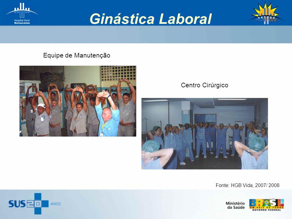 Ginástica Laboral Equipe de Manutenção Centro Cirúrgico Fonte: HGB Vida, 2007/ 2008