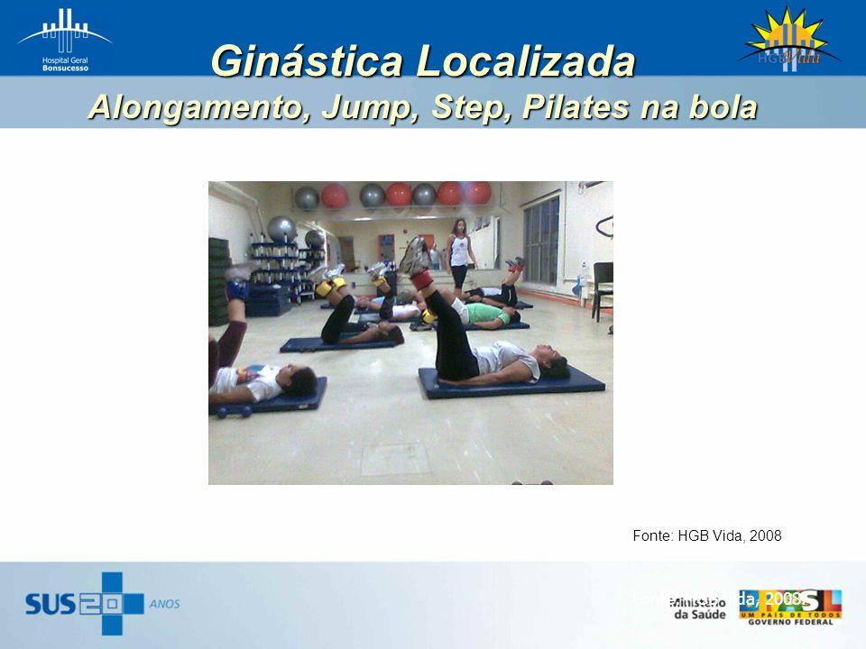 Ginástica Localizada Alongamento, Jump, Step, Pilates na bola Fonte: HGB Vida, 2008. Fonte: HGB Vida, 2008