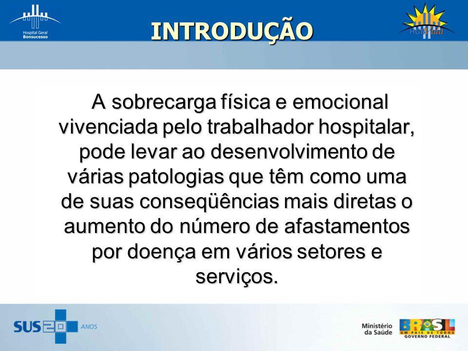 INTRODUÇÃO A sobrecarga física e emocional vivenciada pelo trabalhador hospitalar, pode levar ao desenvolvimento de várias patologias que têm como uma