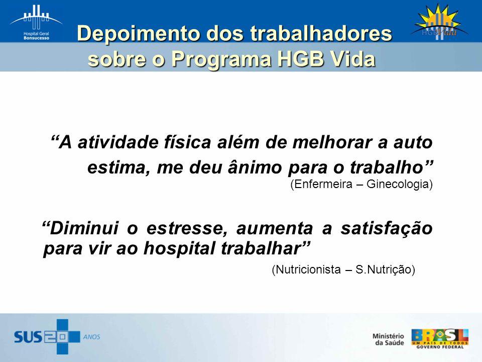 Depoimento dos trabalhadores sobre o Programa HGB Vida Depoimento dos trabalhadores sobre o Programa HGB Vida A atividade física além de melhorar a au