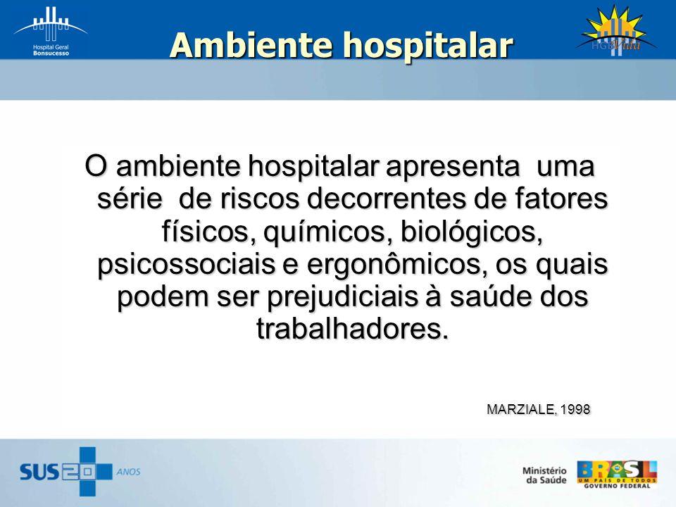 Ambiente hospitalar Ambiente hospitalar O ambiente hospitalar apresenta uma série de riscos decorrentes de fatores físicos, químicos, biológicos, psic