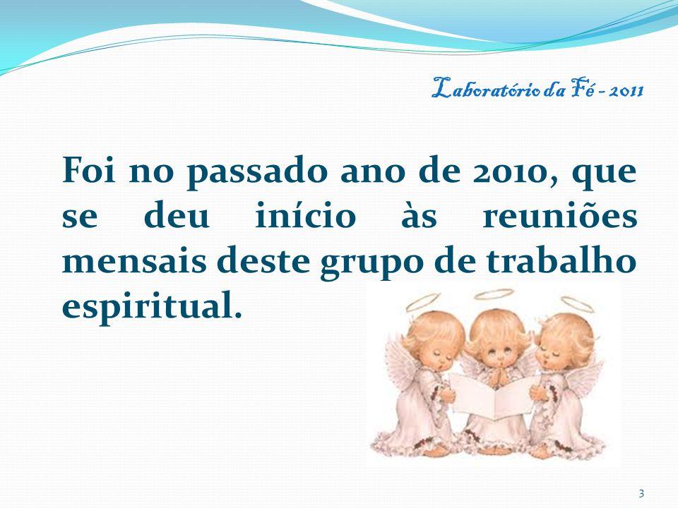 Foi no passado ano de 2010, que se deu início às reuniões mensais deste grupo de trabalho espiritual. Laboratório da Fé - 2011 3