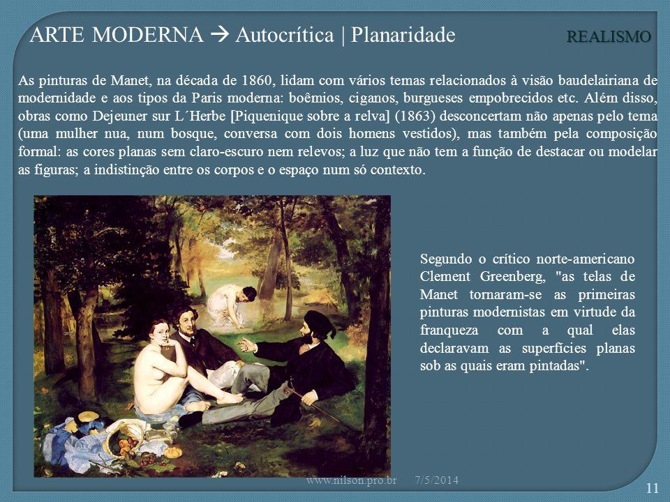 REALISMO ARTE MODERNA Autocrítica | Planaridade As pinturas de Manet, na década de 1860, lidam com vários temas relacionados à visão baudelairiana de modernidade e aos tipos da Paris moderna: boêmios, ciganos, burgueses empobrecidos etc.