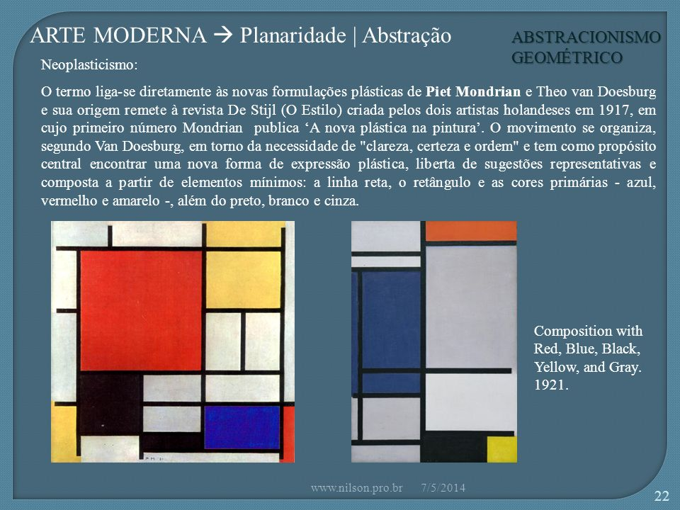 ABSTRACIONISMO GEOMÉTRICO ARTE MODERNA Planaridade | Abstração Composition with Red, Blue, Black, Yellow, and Gray. 1921. Neoplasticismo: O termo liga
