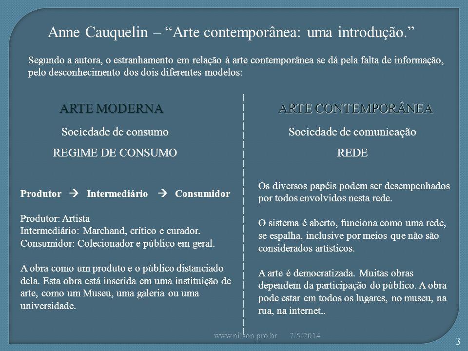 ARTE CONTEMPORÂNEA Democratização   Ação   Efemeridade GIA 7/5/2014www.nilson.pro.br 44