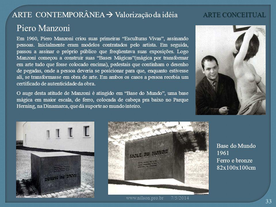 Piero Manzoni Base do Mundo 1961 Ferro e bronze 82x100x100cm Em 1960, Piero Manzoni criou suas primeiras Esculturas Vivas, assinando pessoas.