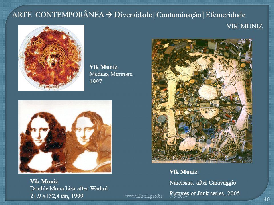 Vik Muniz Medusa Marinara 1997 Vik Muniz Narcissus, after Caravaggio Pictures of Junk series, 2005 Vik Muniz Double Mona Lisa after Warhol 21,9 x152,4 cm, 1999 VIK MUNIZ ARTE CONTEMPORÂNEA Diversidade | Contaminação | Efemeridade 7/5/2014www.nilson.pro.br 40