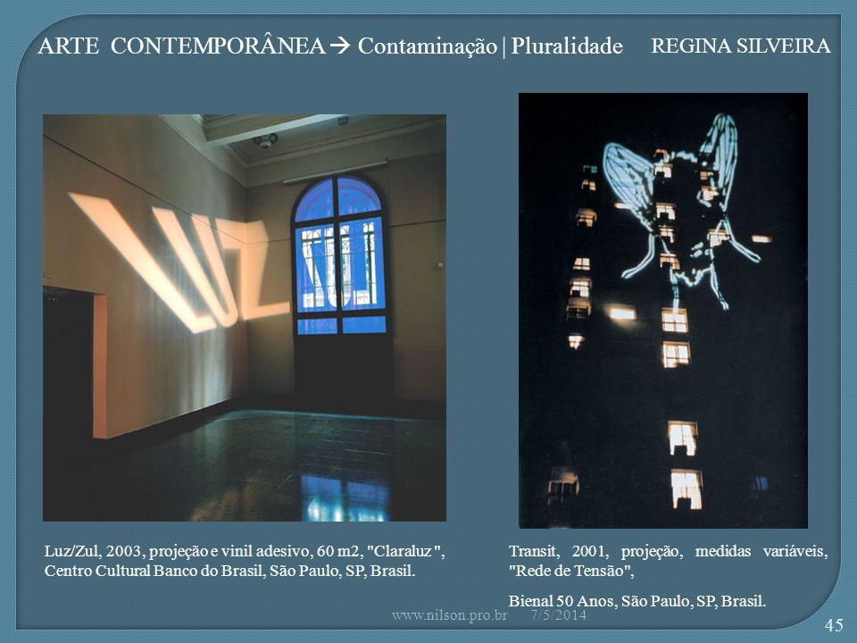 Luz/Zul, 2003, projeção e vinil adesivo, 60 m2, Claraluz , Centro Cultural Banco do Brasil, São Paulo, SP, Brasil.