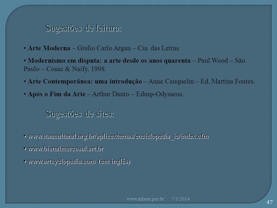 Sugestões de sites: Arte Moderna – Giulio Carlo Argan – Cia.