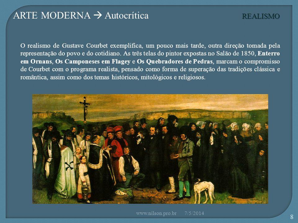 ARTE MODERNA Autocrítica O realismo de Gustave Courbet exemplifica, um pouco mais tarde, outra direção tomada pela representação do povo e do cotidiano.