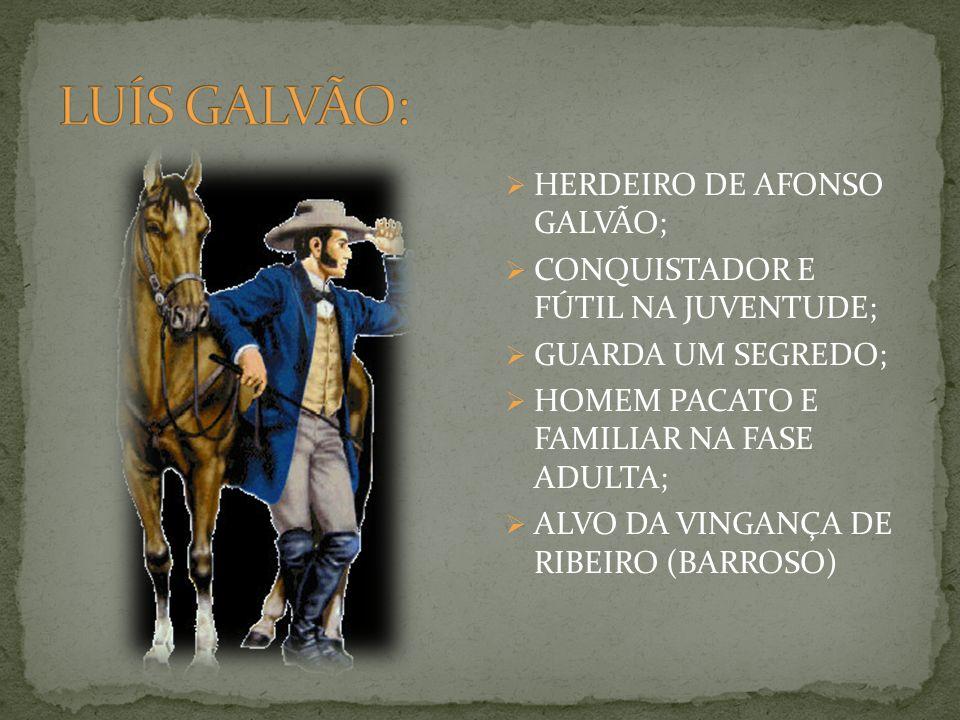 HERDEIRO DE AFONSO GALVÃO; CONQUISTADOR E FÚTIL NA JUVENTUDE; GUARDA UM SEGREDO; HOMEM PACATO E FAMILIAR NA FASE ADULTA; ALVO DA VINGANÇA DE RIBEIRO (