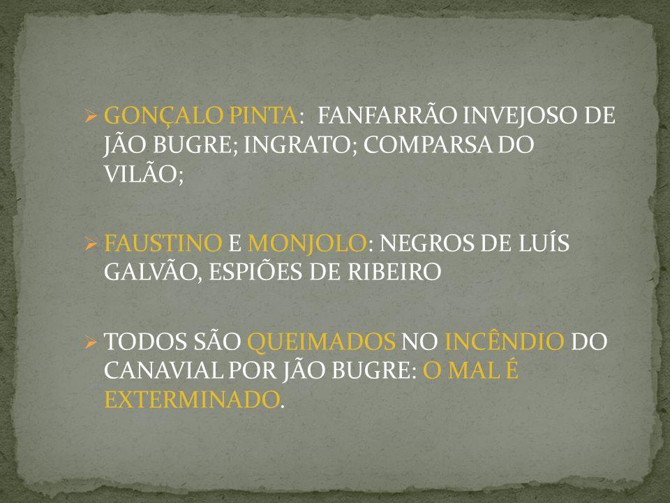 GONÇALO PINTA: FANFARRÃO INVEJOSO DE JÃO BUGRE; INGRATO; COMPARSA DO VILÃO; FAUSTINO E MONJOLO: NEGROS DE LUÍS GALVÃO, ESPIÕES DE RIBEIRO TODOS SÃO QUEIMADOS NO INCÊNDIO DO CANAVIAL POR JÃO BUGRE: O MAL É EXTERMINADO.