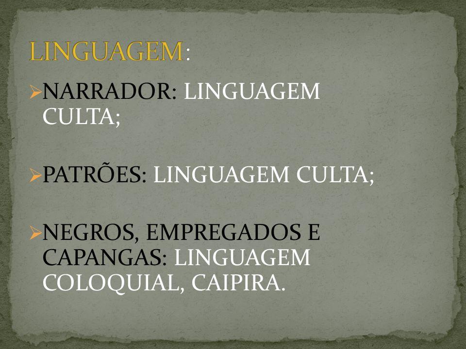 NARRADOR: LINGUAGEM CULTA; PATRÕES: LINGUAGEM CULTA; NEGROS, EMPREGADOS E CAPANGAS: LINGUAGEM COLOQUIAL, CAIPIRA.