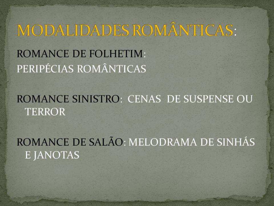 ROMANCE DE FOLHETIM: PERIPÉCIAS ROMÂNTICAS ROMANCE SINISTRO: CENAS DE SUSPENSE OU TERROR ROMANCE DE SALÃO: MELODRAMA DE SINHÁS E JANOTAS