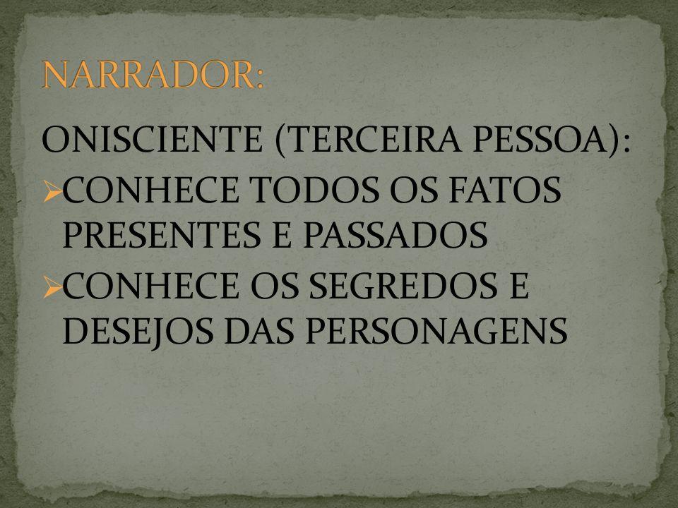 ONISCIENTE (TERCEIRA PESSOA): CONHECE TODOS OS FATOS PRESENTES E PASSADOS CONHECE OS SEGREDOS E DESEJOS DAS PERSONAGENS