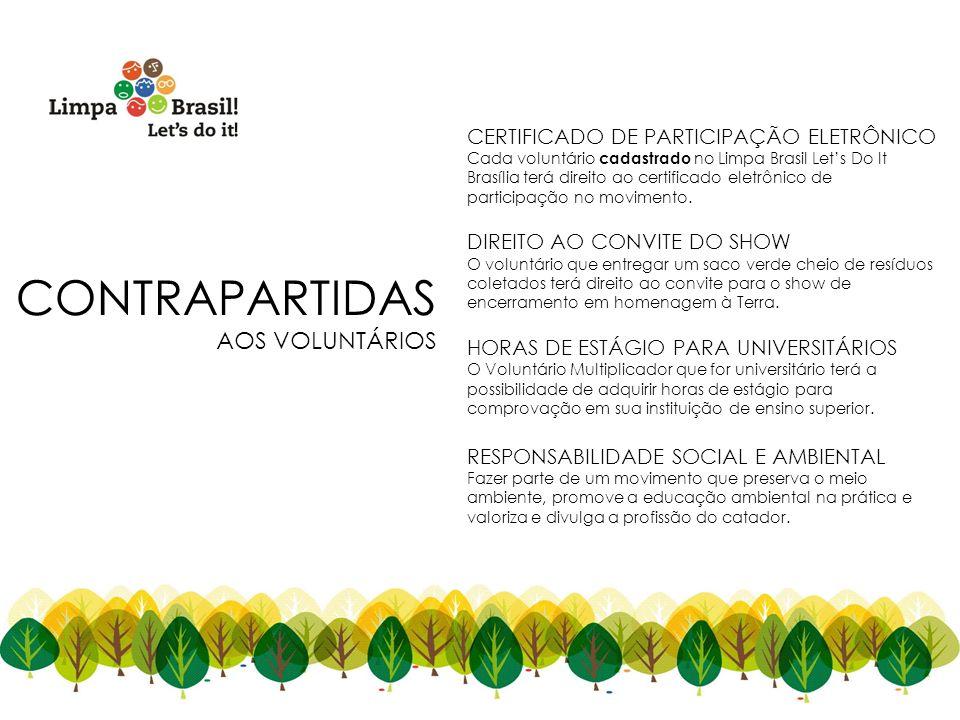 CONTRAPARTIDAS AOS VOLUNTÁRIOS CERTIFICADO DE PARTICIPAÇÃO ELETRÔNICO Cada voluntário cadastrado no Limpa Brasil Lets Do It Brasília terá direito ao c