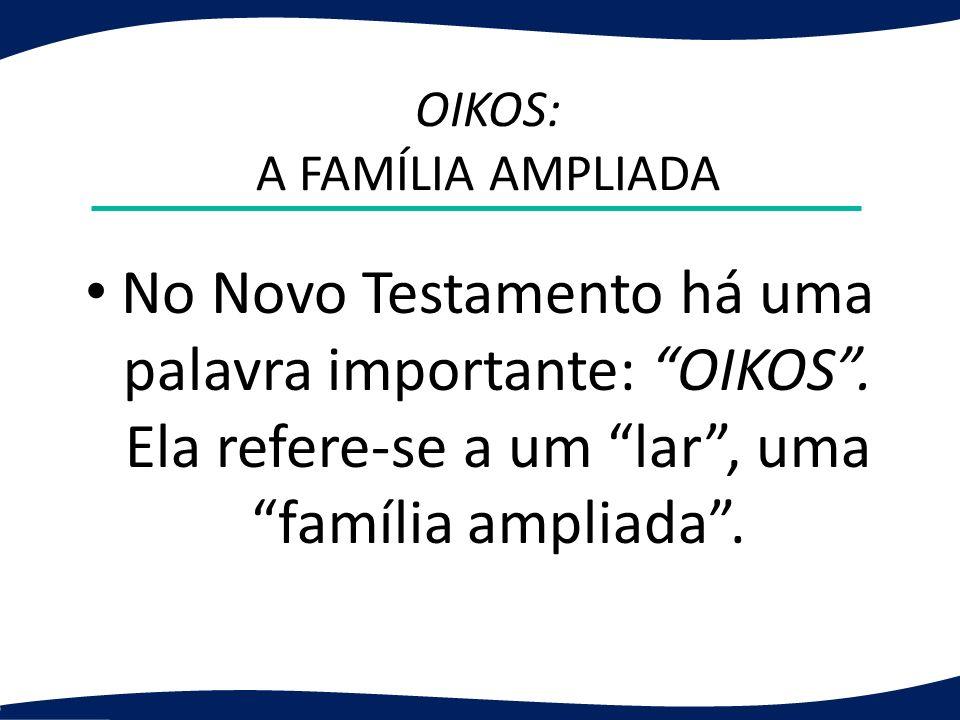 OIKOS: A FAMÍLIA AMPLIADA No Novo Testamento há uma palavra importante: OIKOS. Ela refere-se a um lar, uma família ampliada.