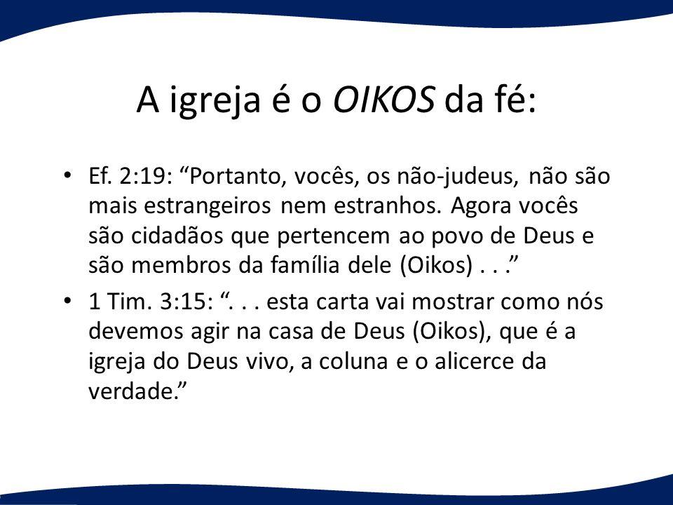 A igreja é o OIKOS da fé: Ef. 2:19: Portanto, vocês, os não-judeus, não são mais estrangeiros nem estranhos. Agora vocês são cidadãos que pertencem ao