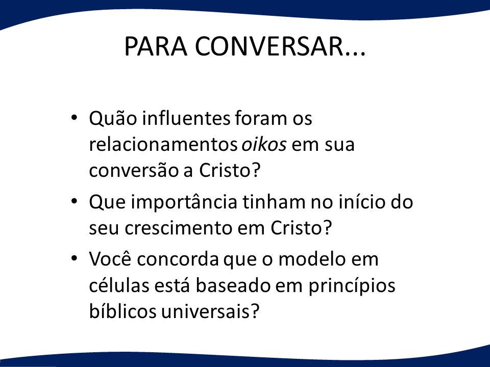 PARA CONVERSAR... Quão influentes foram os relacionamentos oikos em sua conversão a Cristo? Que importância tinham no início do seu crescimento em Cri