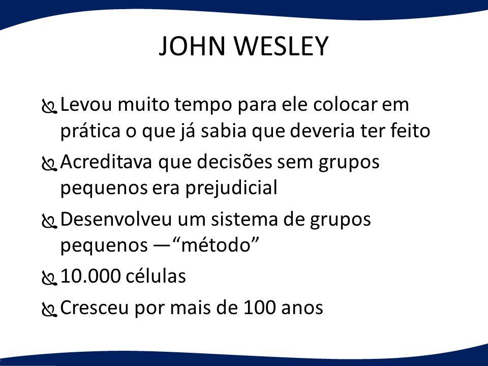 JOHN WESLEY Levou muito tempo para ele colocar em prática o que já sabia que deveria ter feito Acreditava que decisões sem grupos pequenos era prejudi