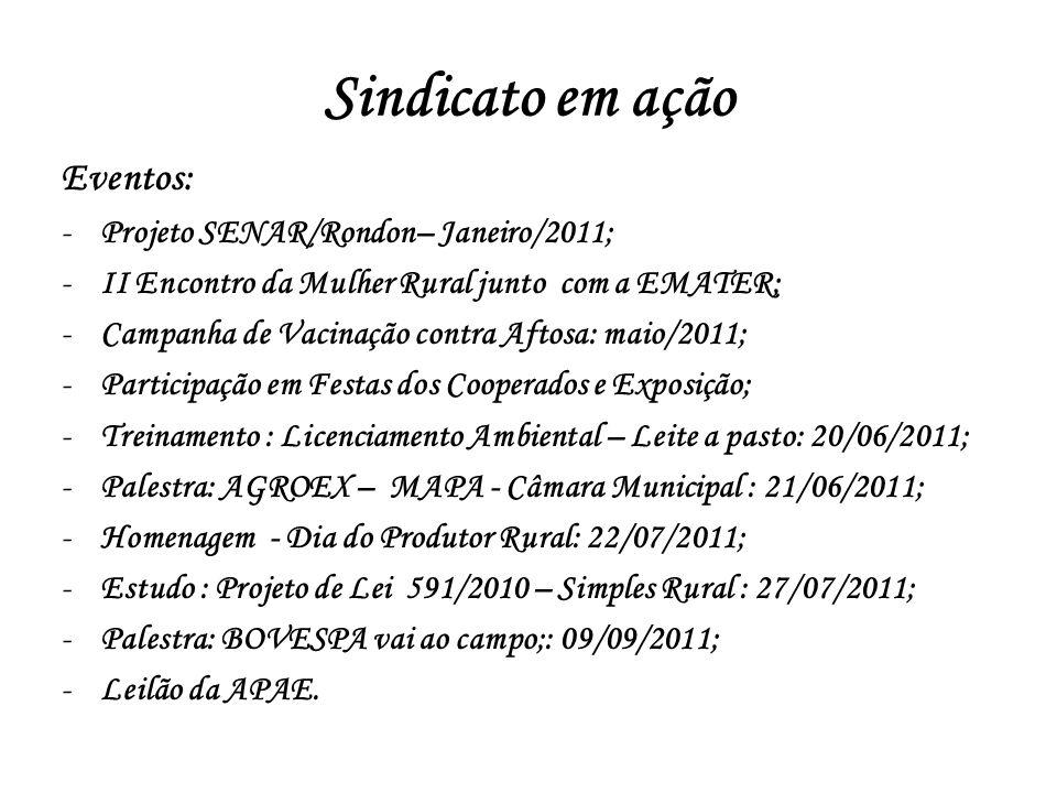 Sindicato em ação Eventos: -Projeto SENAR/Rondon– Janeiro/2011; -II Encontro da Mulher Rural junto com a EMATER; -Campanha de Vacinação contra Aftosa: