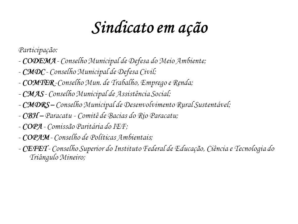 Participação: - CODEMA - Conselho Municipal de Defesa do Meio Ambiente; - CMDC - Conselho Municipal de Defesa Civil; - COMTER -Conselho Mun. de Trabal