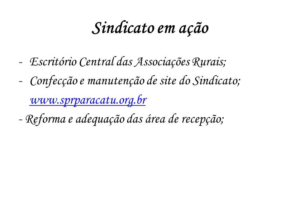 -Escritório Central das Associações Rurais; -Confecção e manutenção de site do Sindicato; www.sprparacatu.org.br - Reforma e adequação das área de rec