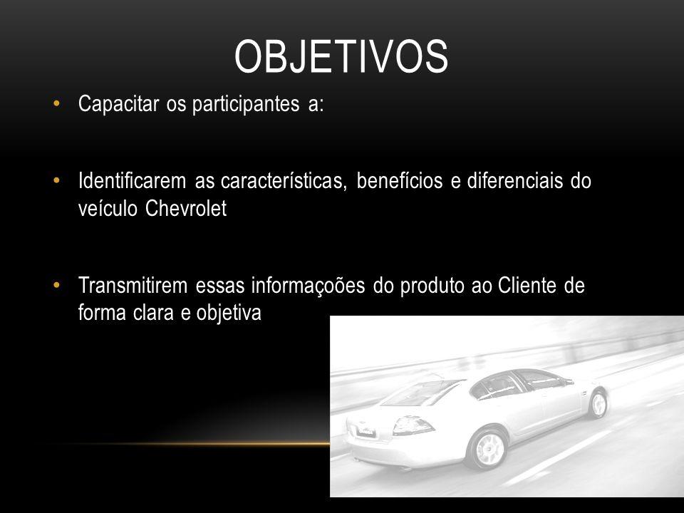 OBJETIVOS Capacitar os participantes a: Identificarem as características, benefícios e diferenciais do veículo Chevrolet Transmitirem essas informaçoõ