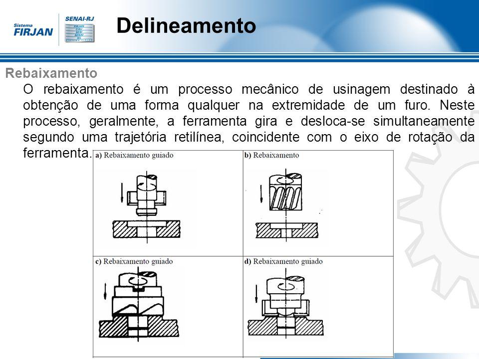 Delineamento Rebaixamento O rebaixamento é um processo mecânico de usinagem destinado à obtenção de uma forma qualquer na extremidade de um furo. Nest