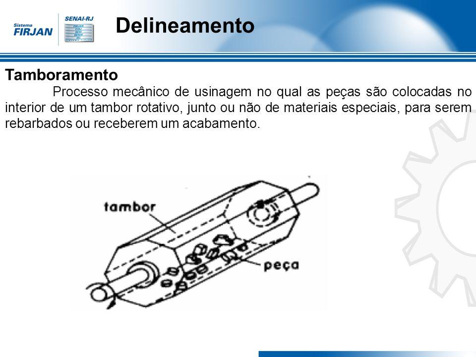 Delineamento Tamboramento Processo mecânico de usinagem no qual as peças são colocadas no interior de um tambor rotativo, junto ou não de materiais es