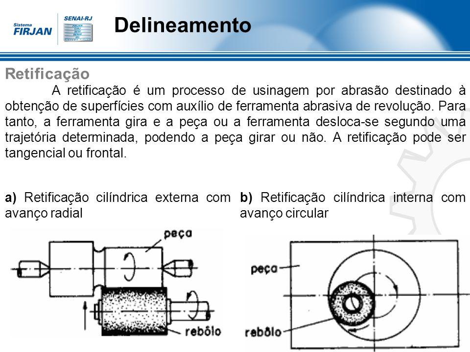 Delineamento Retificação A retificação é um processo de usinagem por abrasão destinado à obtenção de superfícies com auxílio de ferramenta abrasiva de