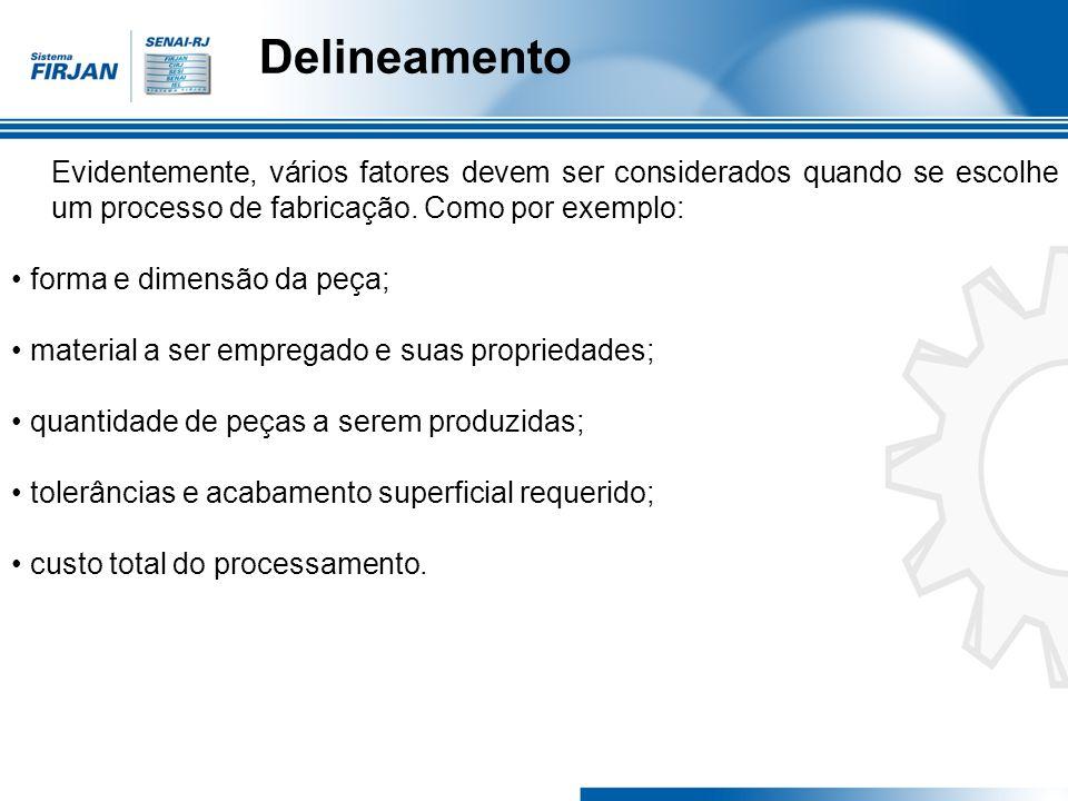 Delineamento Obs: Os valores da velocidade de corte são encontradas em tabelas fornecidas pelos fabricantes de ferramentas de corte.