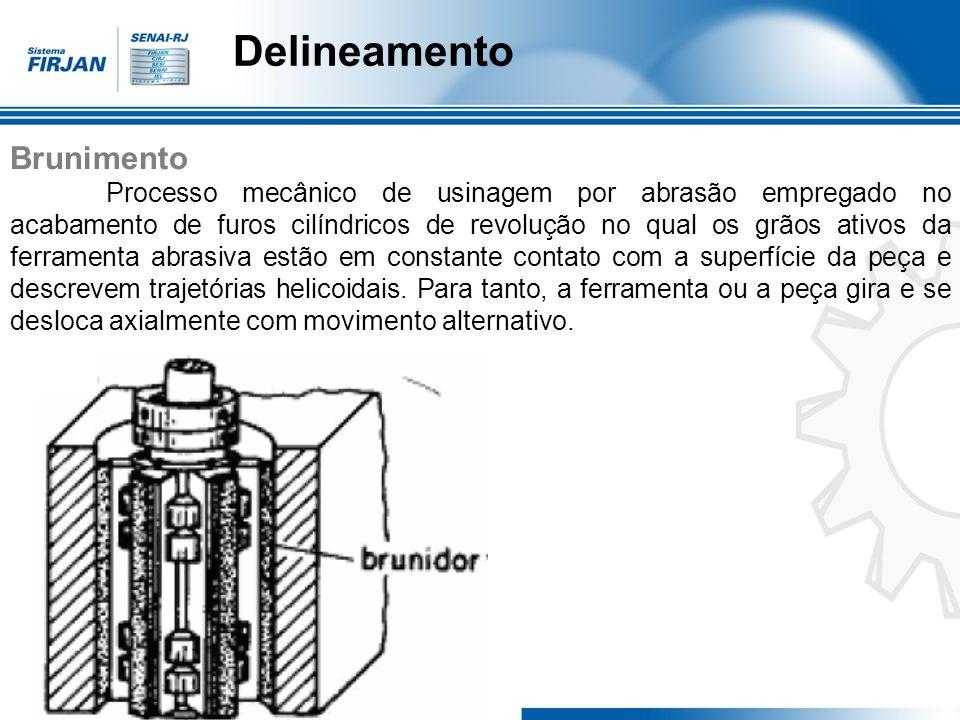 Brunimento Processo mecânico de usinagem por abrasão empregado no acabamento de furos cilíndricos de revolução no qual os grãos ativos da ferramenta a