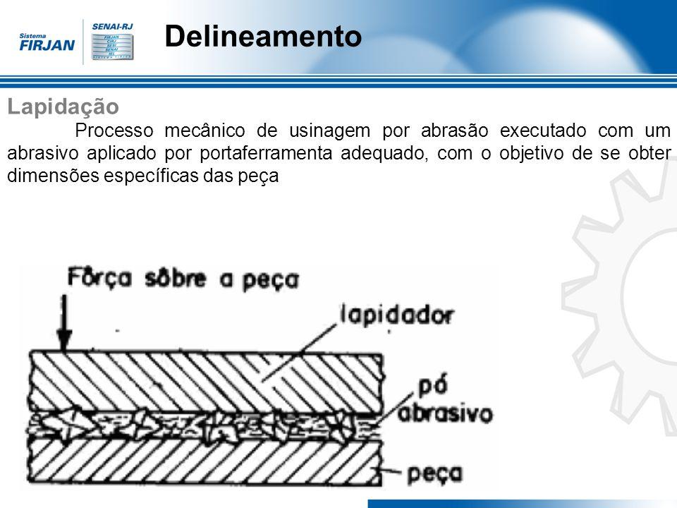 Delineamento Lapidação Processo mecânico de usinagem por abrasão executado com um abrasivo aplicado por portaferramenta adequado, com o objetivo de se