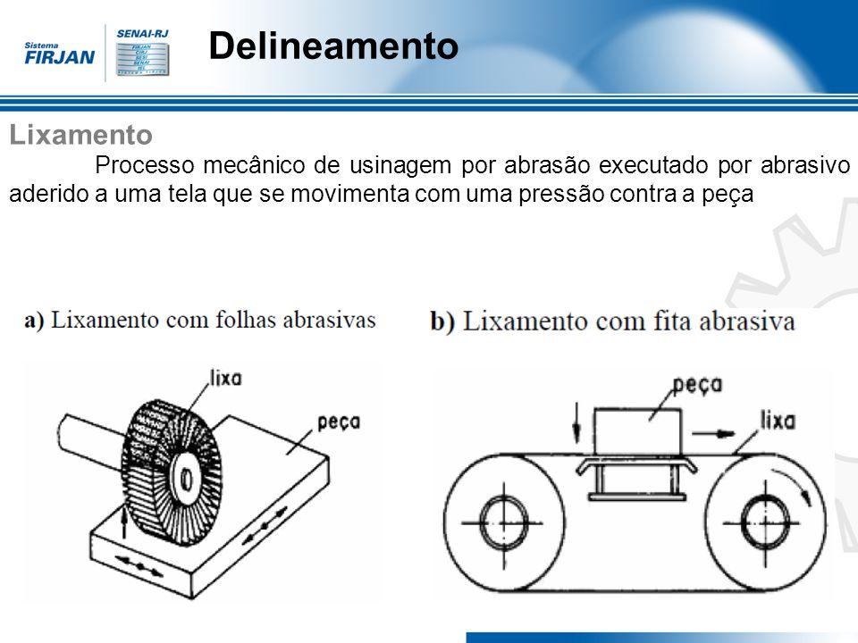 Delineamento Lixamento Processo mecânico de usinagem por abrasão executado por abrasivo aderido a uma tela que se movimenta com uma pressão contra a p