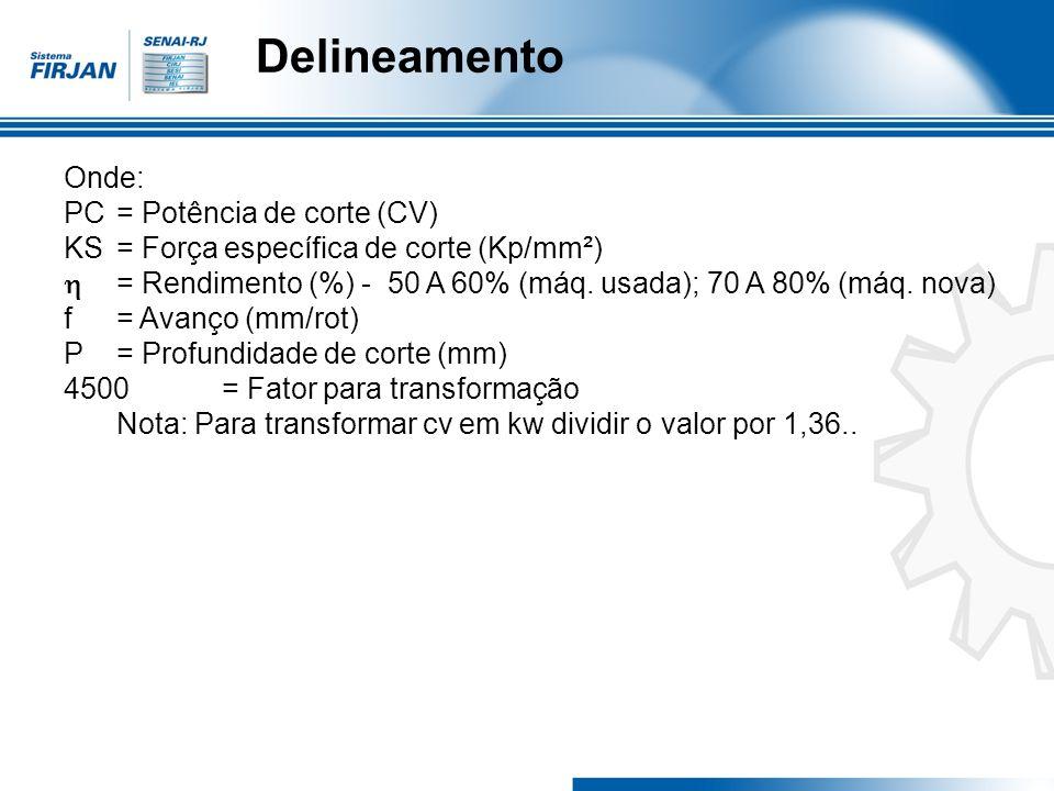 Delineamento Onde: PC = Potência de corte (CV) KS = Força específica de corte (Kp/mm²) = Rendimento (%) - 50 A 60% (máq. usada); 70 A 80% (máq. nova)