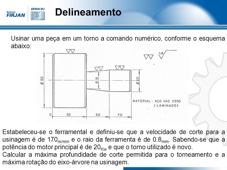 Delineamento Usinar uma peça em um torno a comando numérico, conforme o esquema abaixo: Uma segunda maneira de determinar o avanço é por intermédio de