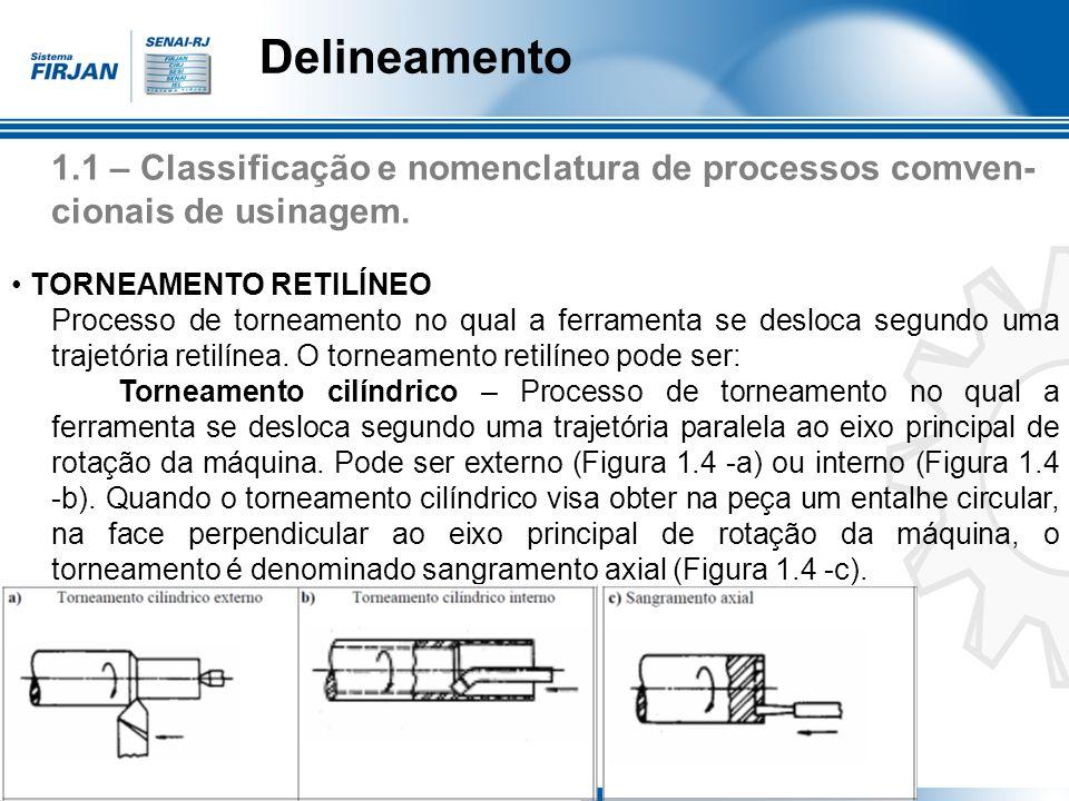 Delineamento 1.1 – Classificação e nomenclatura de processos comven- cionais de usinagem. TORNEAMENTO RETILÍNEO Processo de torneamento no qual a ferr