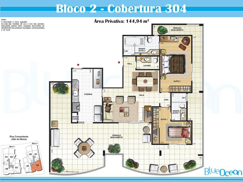 Bloco 2 - Cobertura 304 Área Privativa: 144,94 m 2