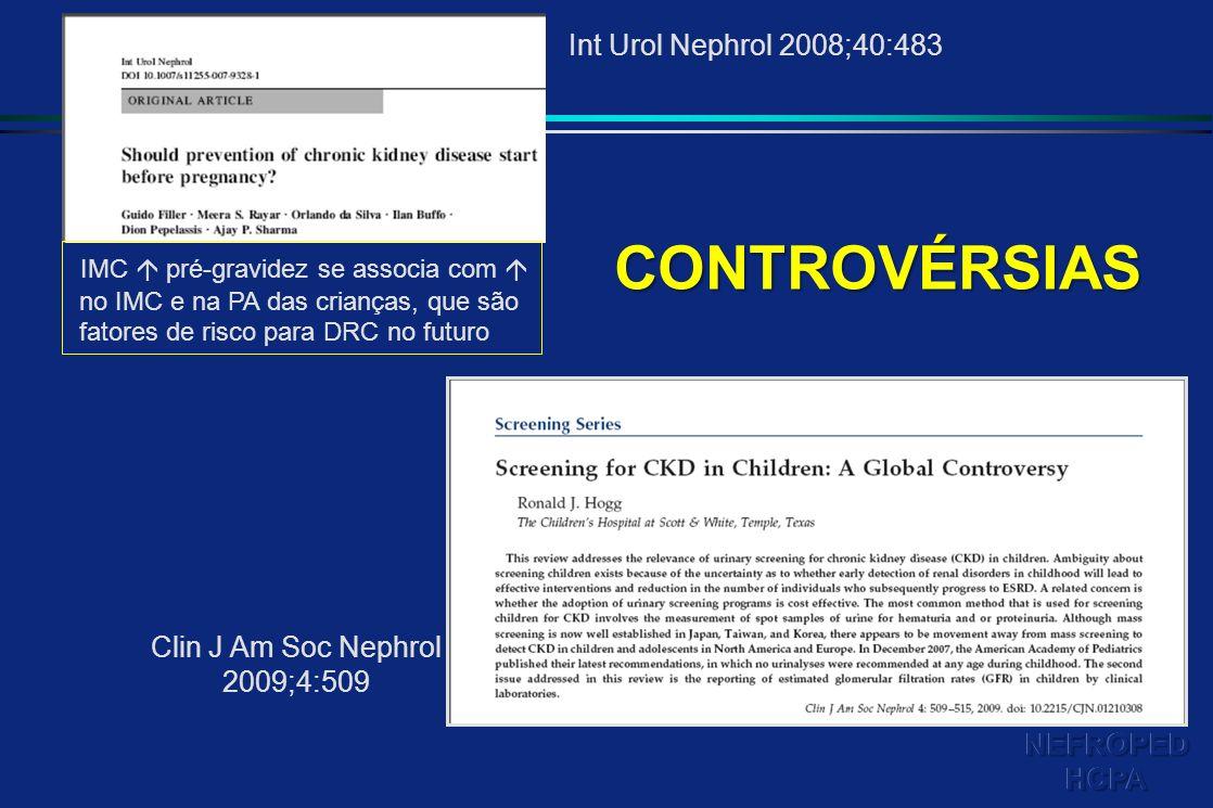 IMC pré-gravidez se associa com no IMC e na PA das crianças, que são fatores de risco para DRC no futuro Int Urol Nephrol 2008;40:483 Clin J Am Soc Ne