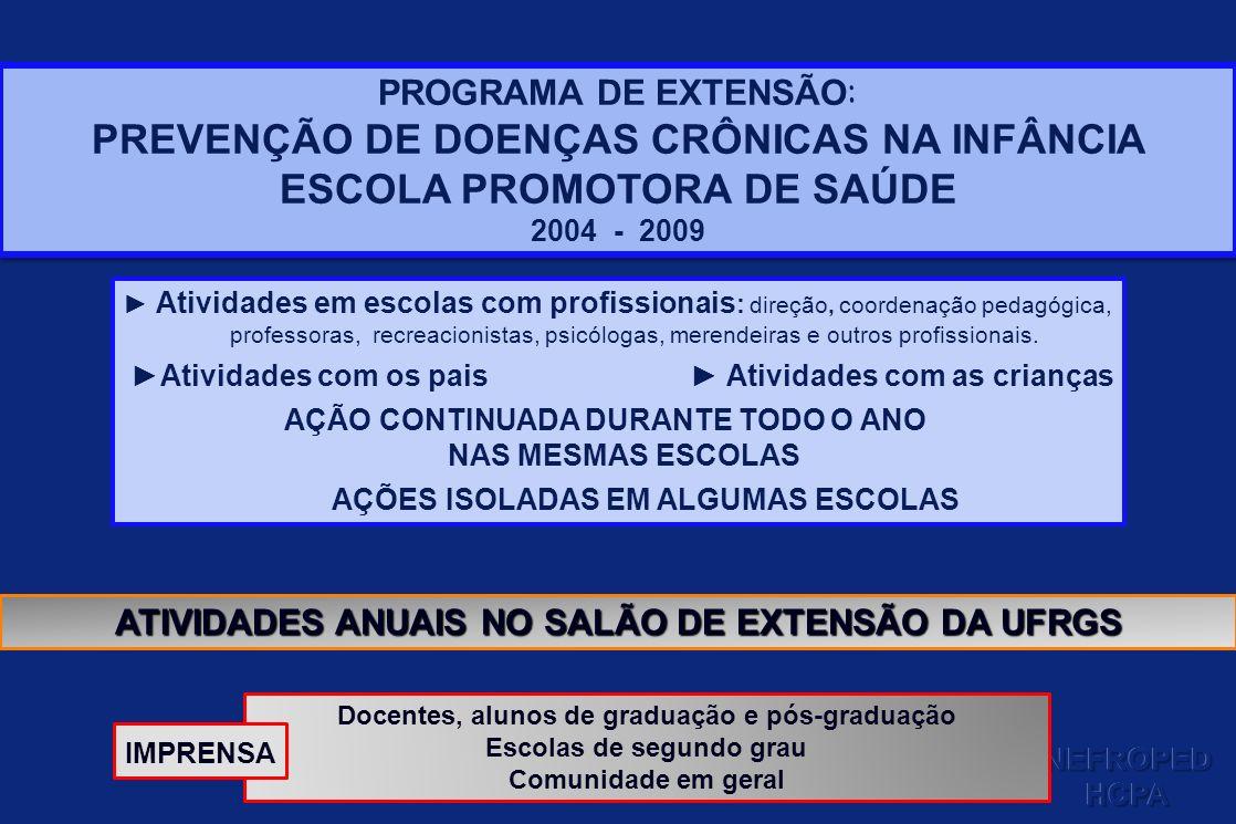 PROGRAMA DE EXTENSÃO : PREVENÇÃO DE DOENÇAS CRÔNICAS NA INFÂNCIA ESCOLA PROMOTORA DE SAÚDE 2004 - 2009 PROGRAMA DE EXTENSÃO : PREVENÇÃO DE DOENÇAS CRÔ