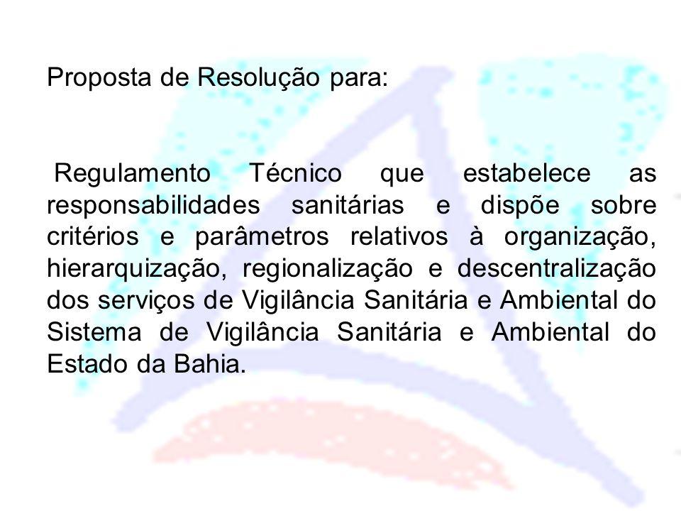 Proposta de Resolução para: Regulamento Técnico que estabelece as responsabilidades sanitárias e dispõe sobre critérios e parâmetros relativos à organ
