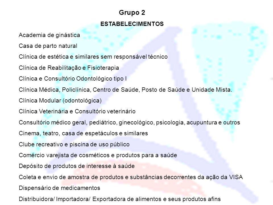 Grupo 2 ESTABELECIMENTOS Academia de ginástica Casa de parto natural Clínica de estética e similares sem responsável técnico Clínica de Reabilitação e