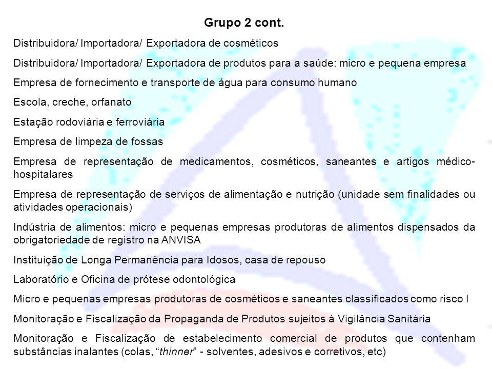 Grupo 2 cont. Distribuidora/ Importadora/ Exportadora de cosméticos Distribuidora/ Importadora/ Exportadora de produtos para a saúde: micro e pequena