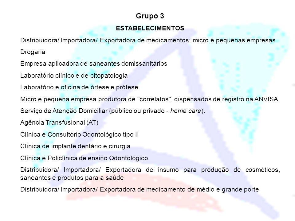 Grupo 3 ESTABELECIMENTOS Distribuidora/ Importadora/ Exportadora de medicamentos: micro e pequenas empresas Drogaria Empresa aplicadora de saneantes d